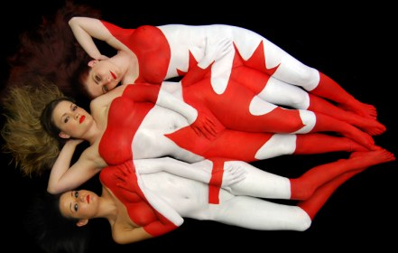 Body painting of a Canada flag